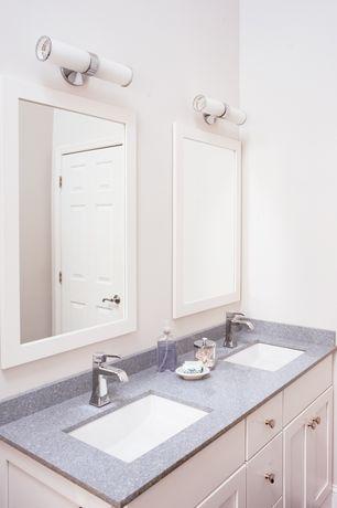 "Contemporary Kids Bathroom with George Kovacs Saber 21"" Wide Chrome LED Bath Light, Simpli Home Winston Vanity Mirror, Paint1"