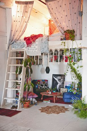 Eclectic Kids Bedroom with How to Build a Loft Bed with Ladder, Hardwood floors, High ceiling, Loft bed, Loft, Area rug