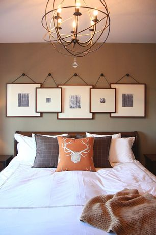 "Contemporary Guest Bedroom with Foucault's orb chandelier 18"" - rustic iron, Paint, Chandelier, Standard height"