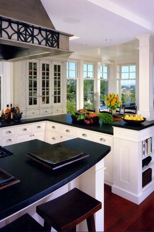 Traditional Kitchen with flush light, Columns, French doors, Inset cabinets, Kitchen island, Built-in bookshelf, L-shaped