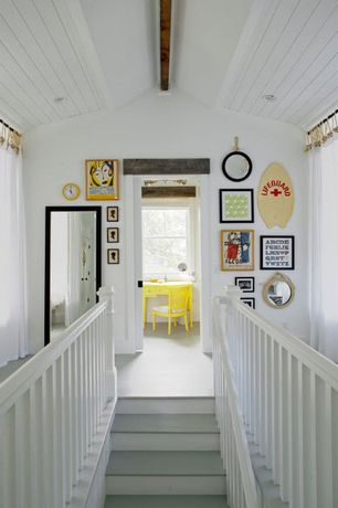 Cottage Staircase with Hardwood floors, Exposed beam