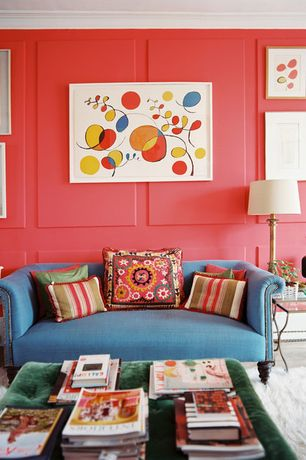 Eclectic Living Room with Standard height, Carpet, Crown molding, Paint