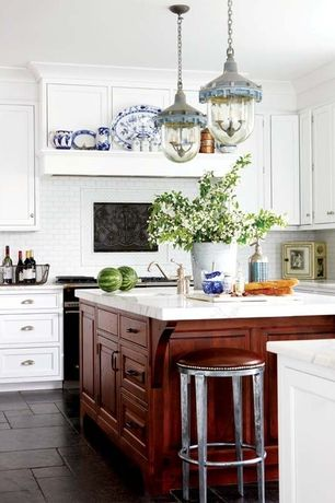 Traditional Kitchen with Subway Tile, slate tile floors, Pendant light, Flat panel cabinets, Crown molding, Breakfast bar