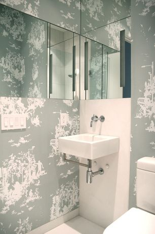 Modern Powder Room with frameless showerdoor, Signature Hardware - Rotunda Wall-Mount Bathroom Faucet, interior wallpaper