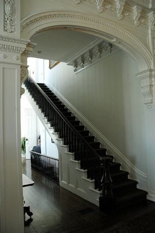 """Traditional Staircase with Crown molding, 5""""w x 5""""d x 10""""h medium acanthus wood corbel, High ceiling, Paint, Hardwood floors"""