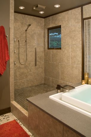 Contemporary Master Bathroom with Brushed Nickel Kenzo Deck Mounted Roman Tub Waterfall Faucet with Metal Lever Handles