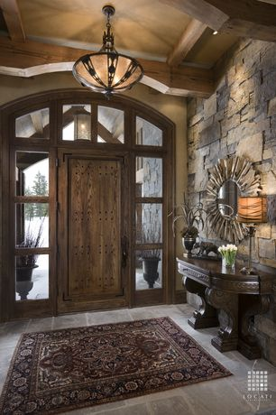 Traditional Entryway with specialty door, Exposed beam, Transom window, flush light, Concrete tile , Uttermost hemani