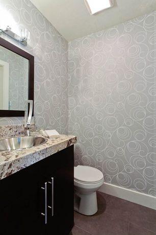 Contemporary Powder Room with Complex granite counters, partial backsplash, interior wallpaper, Complex Granite, Drop-in sink