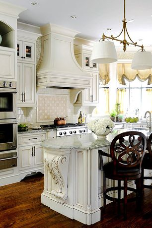 "Traditional Kitchen with Pastel Furniture Fontana 30"" Swivel Bar Stool, High ceiling, Custom hood, Crown molding"