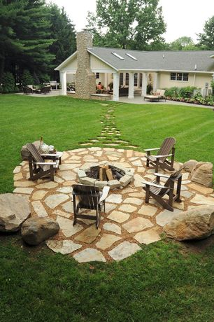 Rustic Patio with exterior stone floors, Fire pit, Pathway