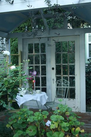 Cottage Porch with Transom window, French doors