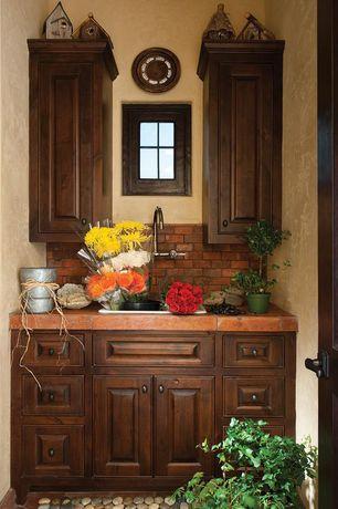 Craftsman Mud Room with interior brick, picture window, specialty door, Built-in bookshelf, Standard height, quartz floors