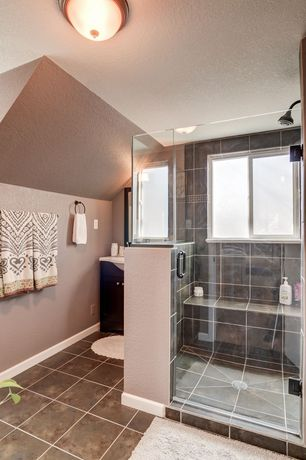 Contemporary 3/4 Bathroom with Standard height, Flat panel cabinets, Shower, Vigo 54-in to 60-in frameless pivot shower door