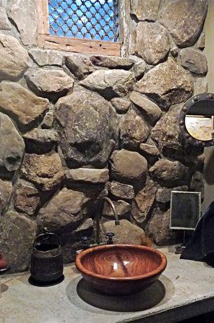 Rustic Powder Room with Eldorado stone country rubble, MR Direct 628 Wood Grain Glass Vessel Bathroom Sink