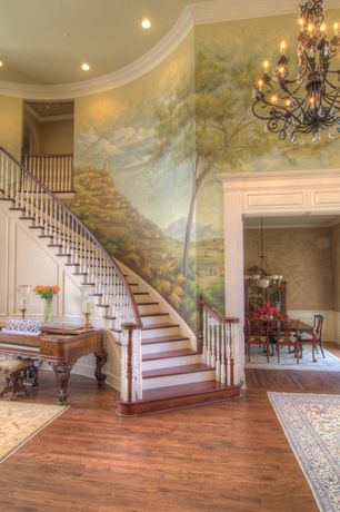 Traditional Entryway with Chandelier, Hardwood floors, Mural, Crown molding