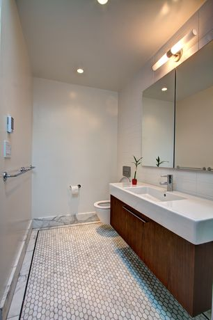 Modern Powder Room with wall-mounted above mirror bathroom light, penny tile floors, European Cabinets, Undermount sink