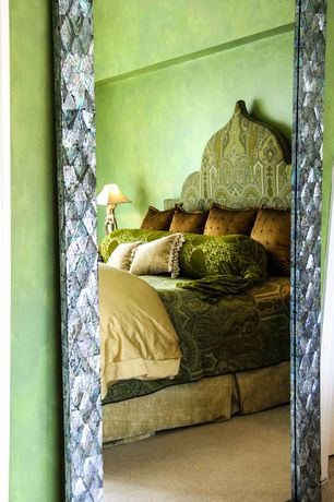 Eclectic Master Bedroom with Carpet