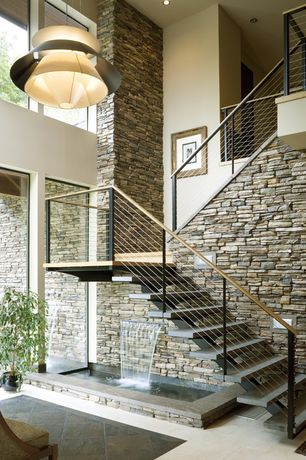 Contemporary Staircase with stone tile floors, ASTRON Mid-Century Modern Pendant, Cathedral ceiling, Loft, Metal staircase
