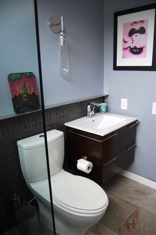 Modern Full Bathroom with slate tile floors, Undermount sink, European Cabinets, Flush, Wall sconce, High ceiling