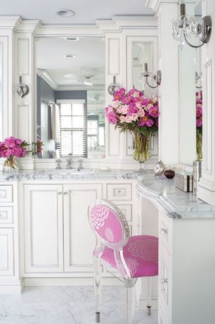 Traditional Master Bathroom with Lou Lou Ghost Child's Chair, Inset cabinets, Wall sconce, Glass panel, Crown molding
