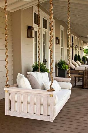 Traditional Porch with Porch swing, Exterior lantern wall sconce, Transom window, French doors, Exterior paint