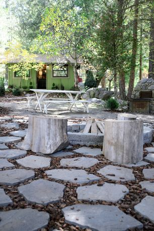 Rustic Landscape/Yard with 12 in. x 7 in. Pewter Concrete Wall Block, outdoor pizza oven, Fire pit, exterior stone floors