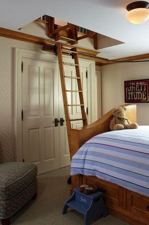 Craftsman Kids Bedroom with flush light, interior wallpaper, Hodedah captain storage bed, Carpet, specialty door