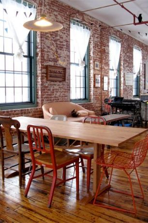 Eclectic Dining Room with Pendant light, Hardwood floors, MORBYLANGA, interior brick, Home Styles Bermuda Side Chair
