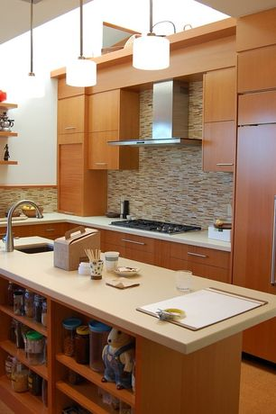 Asian Kitchen with European Cabinets, Emperador blend bamboo 12 in. x 12 in.brown marble mesh-mounted mosaic tile, Flush