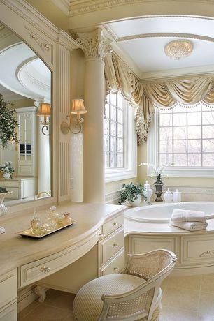 Traditional Master Bathroom with Columns, Limestone counters, Inset cabinets, Raised panel, Master bathroom, flush light