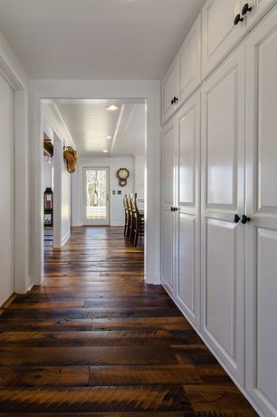 Traditional Entryway with Built in cabinets, Medium Oval Knob, Hardwood floors, French doors, Aaron barstool