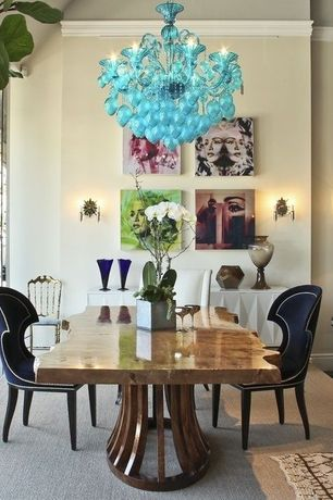 Dining Room with Table lamp, Murano glass chandelier, Wall art, Round side table, Velvet dining chair, Glass vase, Area rug
