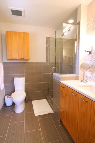 Contemporary 3/4 Bathroom with Ceramic Tile, frameless showerdoor, TOTO MS654114MF Aquia One Piece Toilet, Wall sconce, Flush