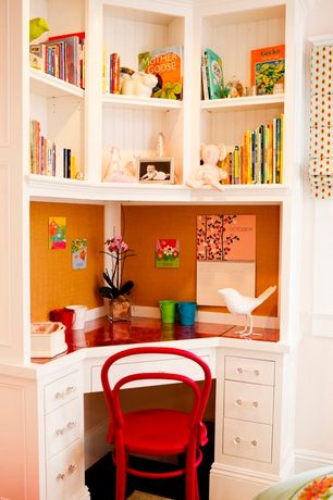 Cottage Home Office with Paint 2, Standard height, Classic bentwood michael thonet side chair, Paint 1, Built-in bookshelf