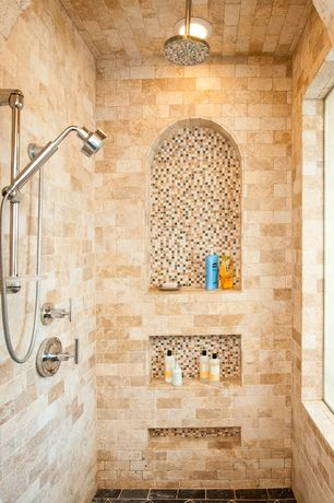 Mediterranean Master Bathroom with Sliding bar hand held shower, Merola tile illuvia square radium glass mosaic wall tile