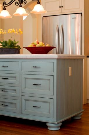 Cottage Kitchen with Paint 2, Paint 1, Pendant light, Inset cabinets, Complex marble counters, One-wall, Kitchen island