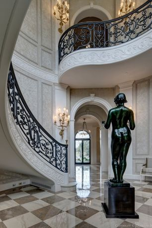 Traditional Staircase with Custom wrought iron railing, Spiral staircase, Ms international emperador dark, Keystone molding