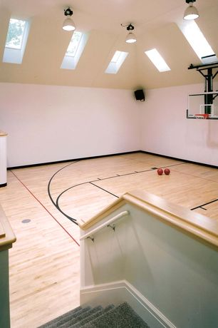 Traditional Home Gym with Skylights, Half court basketball court, Backboard