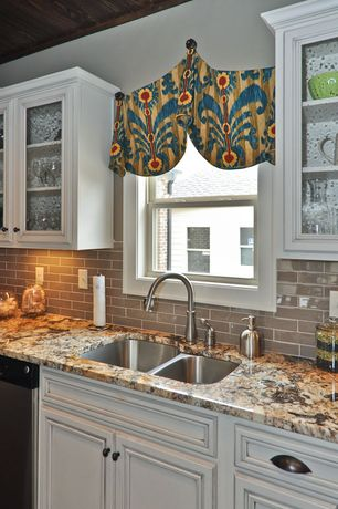 Traditional Kitchen with Complex granite counters, Subway Tile, Flat panel cabinets, Glass panel, One-wall