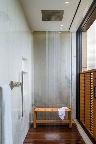Contemporary 3/4 Bathroom with Standard height, Teak shower bench, three quarter bath, sliding glass door, picture window