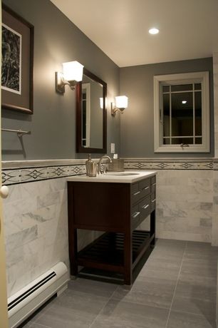 Traditional Full Bathroom with Corian counters, Undermount sink, Wall sconce, Pental - Silver Travertine Honed/Filled Tile