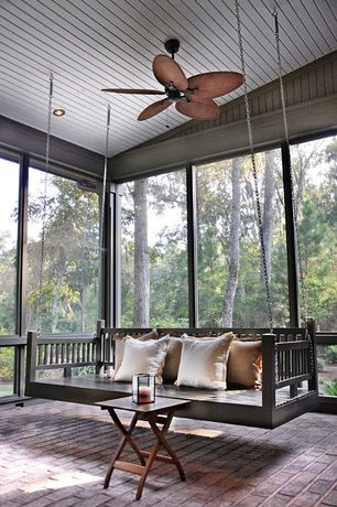 Contemporary Porch with Screened porch, exterior brick floors, highwood? Folding Adirondack Side Table, Porch swing