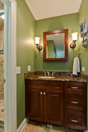 Craftsman 3/4 Bathroom with Complex Granite, flush light, Flat panel cabinets, Wall sconce, Undermount sink, Raised panel