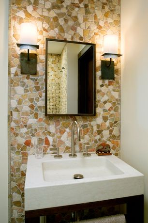 "Contemporary Powder Room with Strata Stones Desert Sandstone Mosaic Tile, Console sink, Kohler Purist 22"" Marble Vessel Sink"