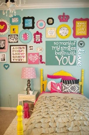 Modern Kids Bedroom with Carpet, paint2, Built-in bookshelf, Chandelier, Vaxcel Ellie 4 Light Mini Chandelier, Crown molding