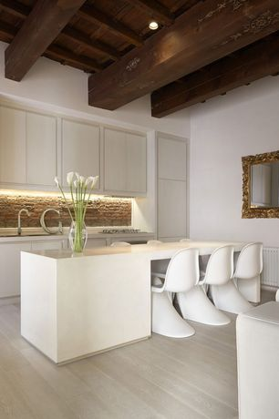 Contemporary Kitchen with One-wall, European Cabinets, Flush, Kitchen island, Dupont Corian Designer White, Corian counters