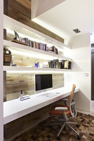 Contemporary Home Office with Built-in bookshelf, Modway attainment mid-back mesh office chair, Laminate floors