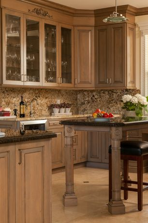 Traditional Kitchen with Standard height, specialty window, Framed Partial Panel, Wine refrigerator, U-shaped, Glass panel