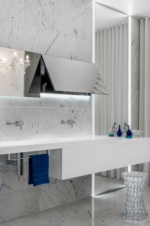 Modern Master Bathroom with European Cabinets, Undermount sink, Signature Hardware Rotunda Wall-Mount Bathroom Faucet, Flush