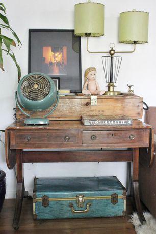 Eclectic Living Room with Hardwood floors, Paint, Vintage suitcase, Vintage drop leaf desk, Vintage table lamp, Vintage fan